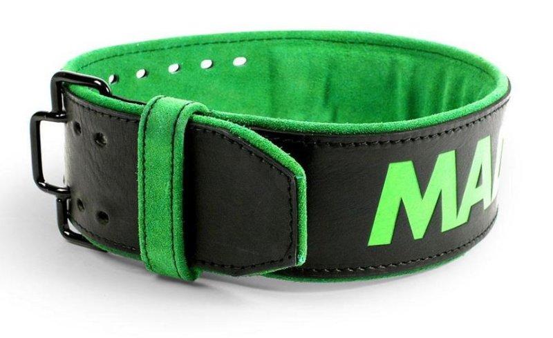 "MADMAX Leather Quick Release Belt - 4"" 10 mm Fitness Belt, Unisex, Black / green"