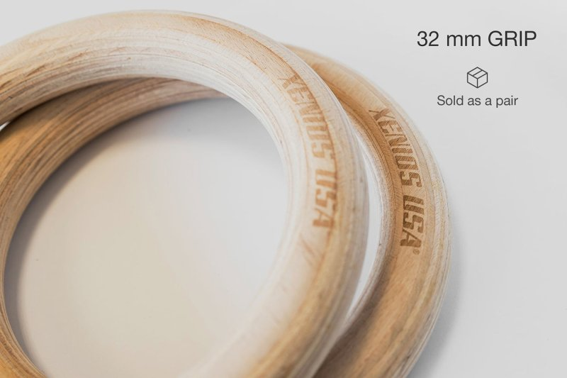 "1.25"" Gymnastic Wood Ring  (32mm.) grip - 300 Kg. Tested"