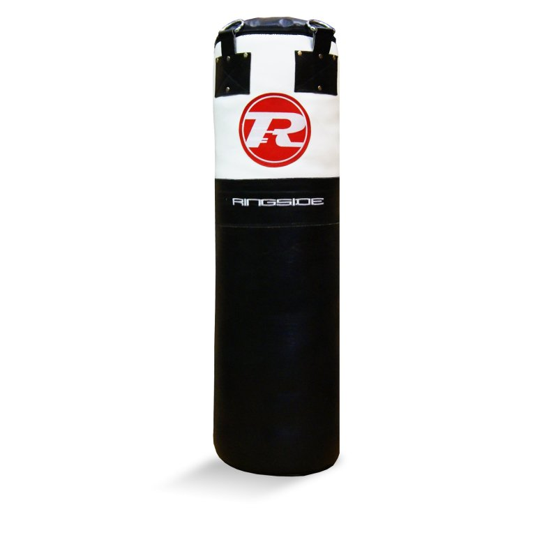 4FT Buffalo Leather Punch Bag - Black / White / Red