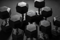 THE ESSENTIALS - Black Rubber Hex. Dumbbell, different weights
