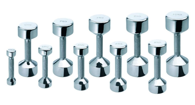 Chrome dumbbells De Luxe, different weights