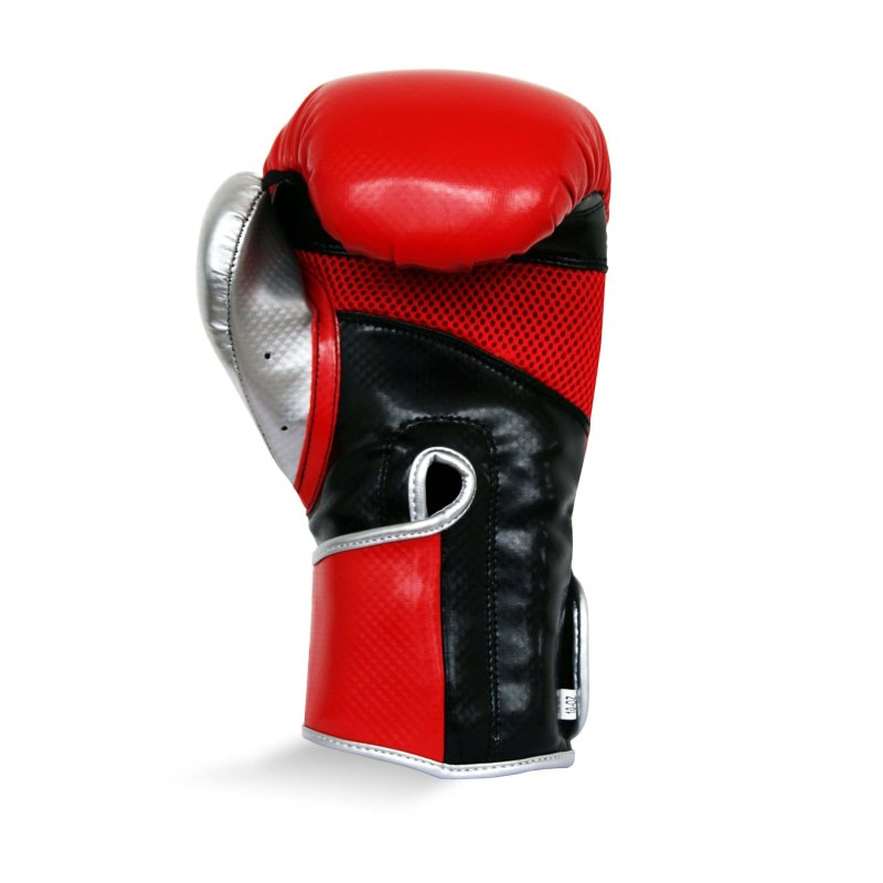 Pro Fitness Glove Synthetic Leather Glove Metallic Red / Black / Silver