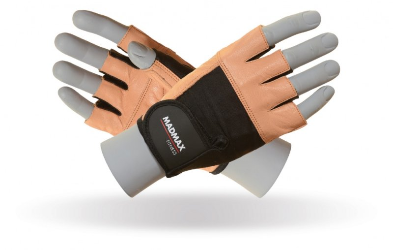 MADMAX FITNESS Gloves for fitness, Men's, Natural brown / black