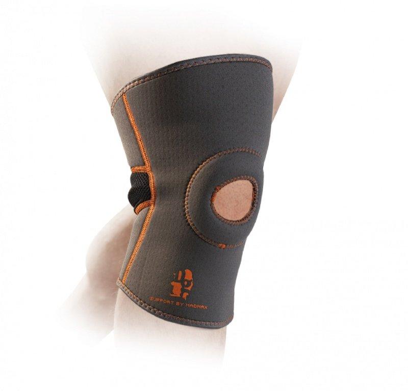 MADMAX Knee support with Patella stabilizer, Dark Grey / Orange
