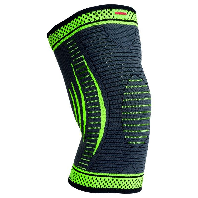 MADMAX 3D Compressive knee support, Dark grey / neon green