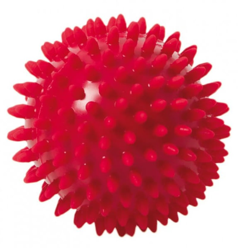 Spiky Massage Ball 9 cm, red , 9 cm