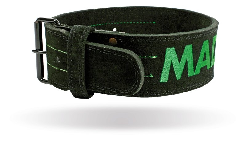 MADMAX LEATHER WITH CARABINE Fitness Belt, Black / Green