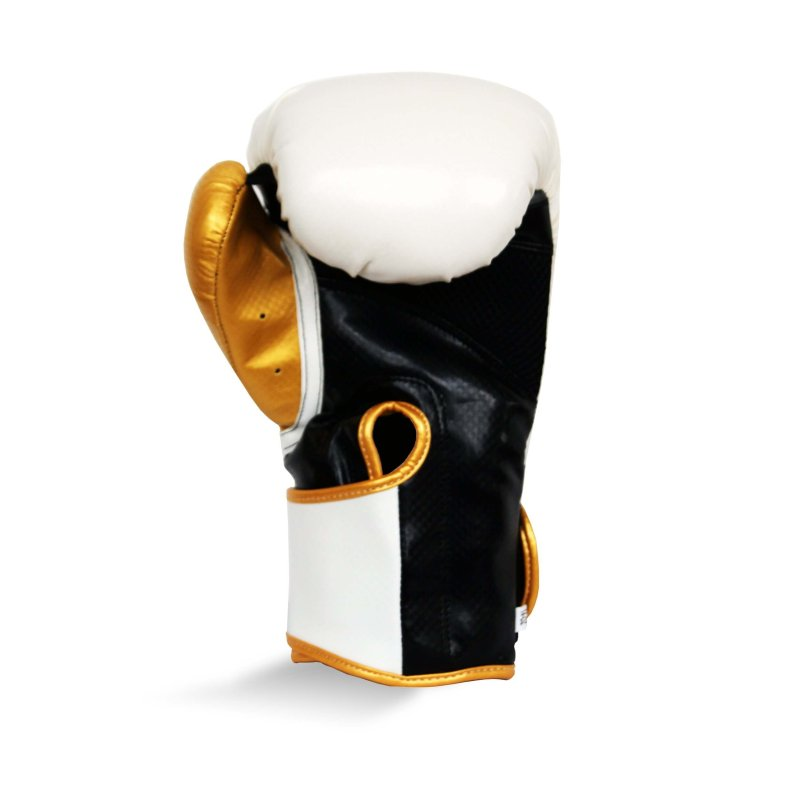 Pro Fitness Glove Synthetic Leather Glove Metallic White / Black / Gold
