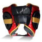 Pro Fitness Head Guard Synthetic Leather Metallic Red / Black / Gold