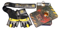 MADMAX Signature Gloves for fitness, Men's, Dark grey / Black / yellow