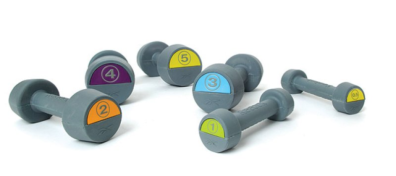 Rebok Studio Rubber Dumbbell, different weights