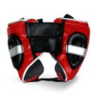 Pro Fitness Head Guard Synthetic Leather Metallic Red / Black / Silver